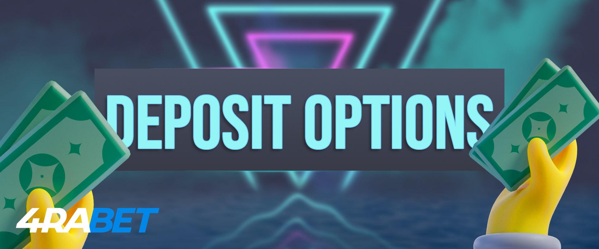 Deposit options on 4rabet.